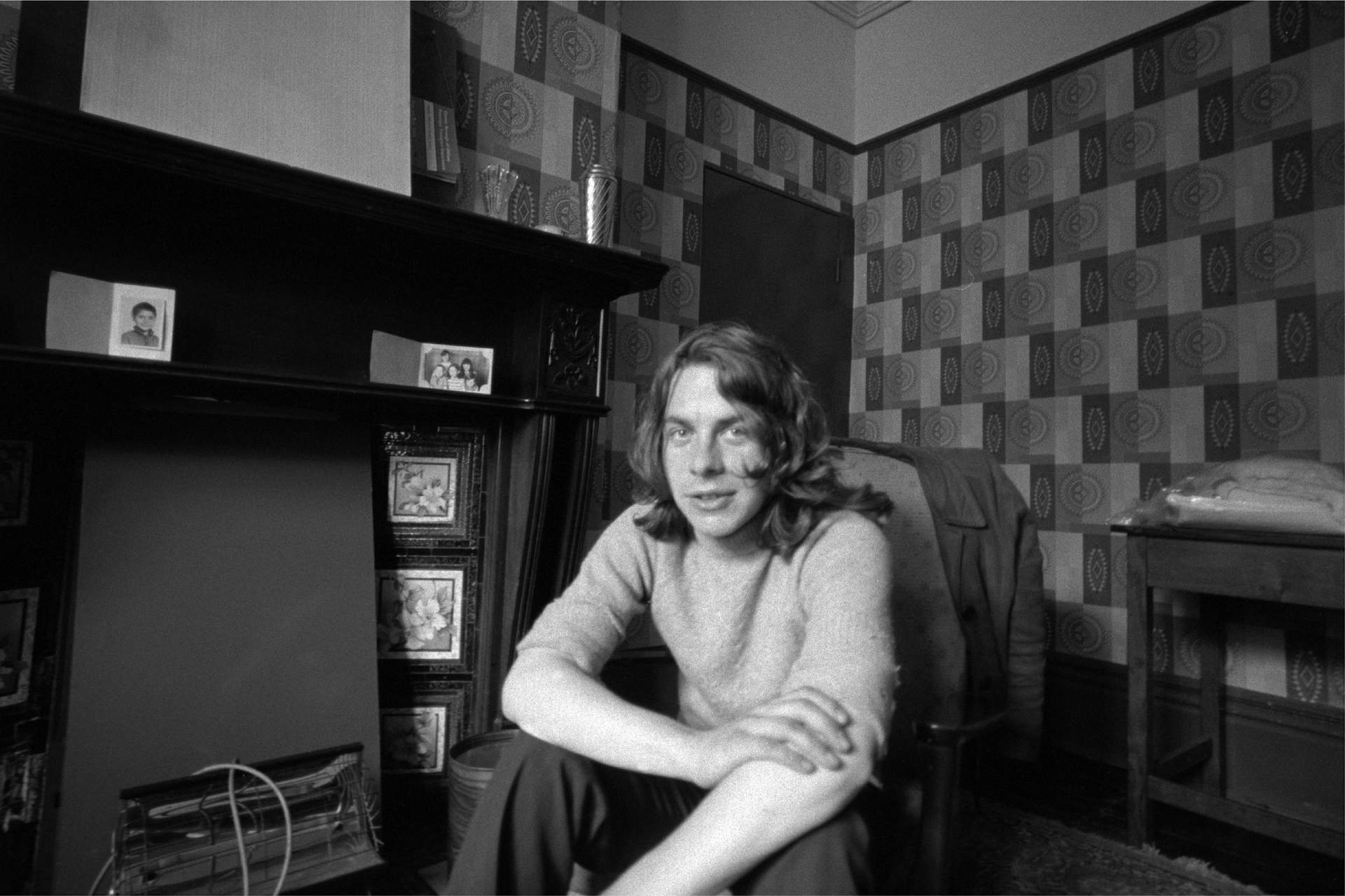 In the living room of my second year flat in Longsight, Manchester, England, 1970